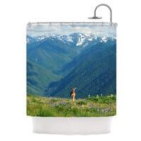 Kess InHouse Robin Dickinson Nature's Calling Blue Green Shower Curtain