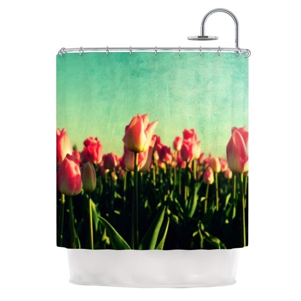 Kess InHouse Robin Dickinson How Does Your Garden Grow Pink Flowers Shower Curtain