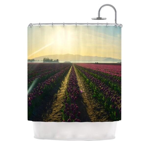 Kess InHouse Robin Dickinson Here Comes The Sun Flower Landscape Shower Curtain
