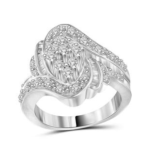 Jewelonfire Sterling Silver 1.00ct TDW White Diamond Marquise Shape Ring