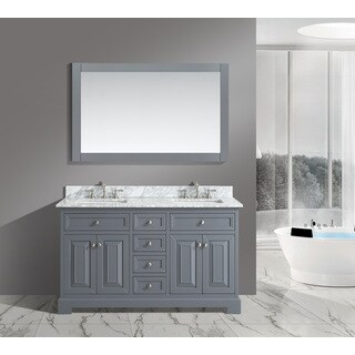 Rochelle Grey Wood 60-inch Bathroom Sink Vanity Set with White Italian Carrara Marble Top