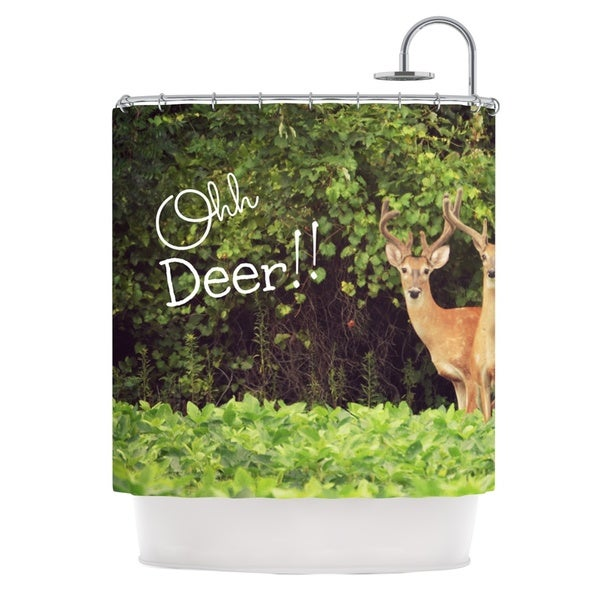 Kess InHouse Robin Dickinson Ohh Deer Green Brown Shower Curtain