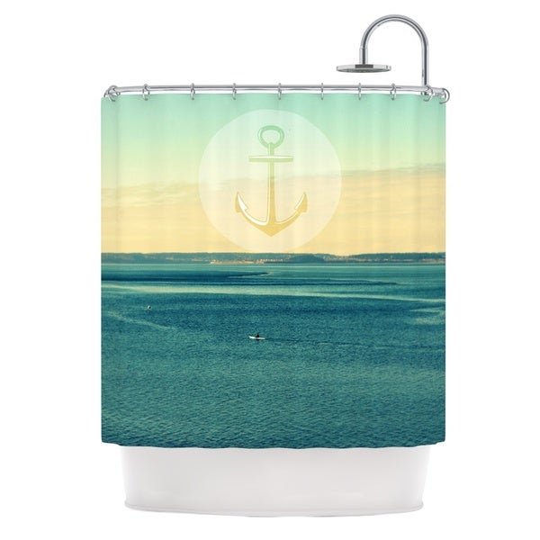 Kess InHouse Robin Dickinson Row Your Own Boat Teal Ocean Shower Curtain