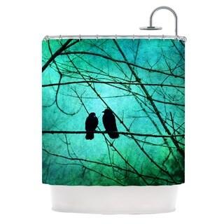 Kess InHouse Robin Dickinson Smitten Blue Teal Shower Curtain