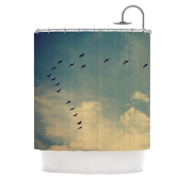 Kess InHouse Robin Dickinson Pterodactyls Blue Tan Shower Curtain