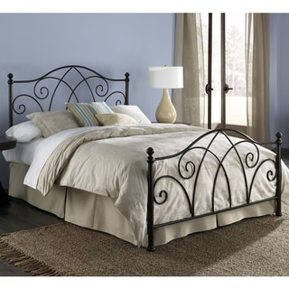 Deland Complete Bed with Curved Grill Design and Finial Posts