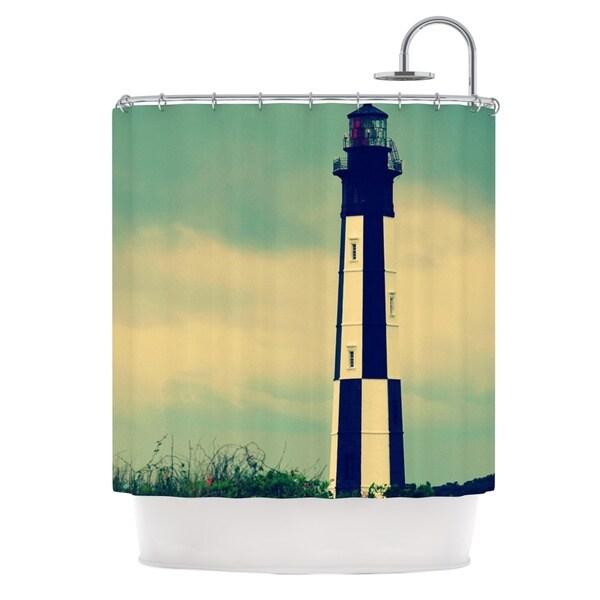 Kess InHouse Robin Dickinson New Cape Henry Lighthouse Shower Curtain