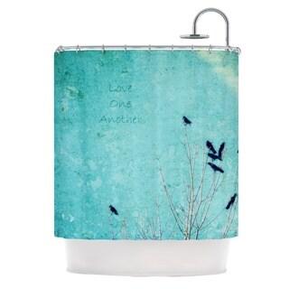 Kess InHouse Robin Dickinson Love One Another Blue Birds Shower Curtain