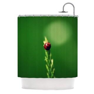 Kess InHouse Robin Dickinson Ladybug Hugs Green Shower Curtain