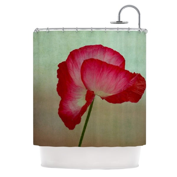 Kess InHouse Robin Dickinson La Te Da Magenta Poppies Shower Curtain