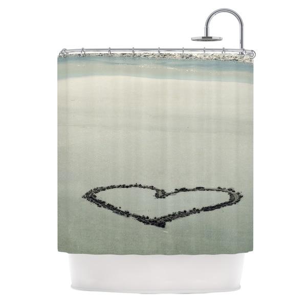 Kess InHouse Robin Dickinson I Love The Beach Ocean Sand Shower Curtain