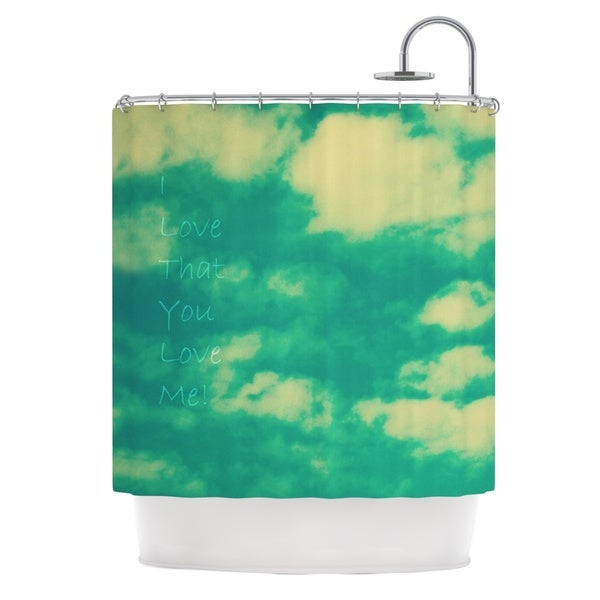 Kess InHouse Robin Dickinson I Love That You Love Me Green Blue Shower Curtain