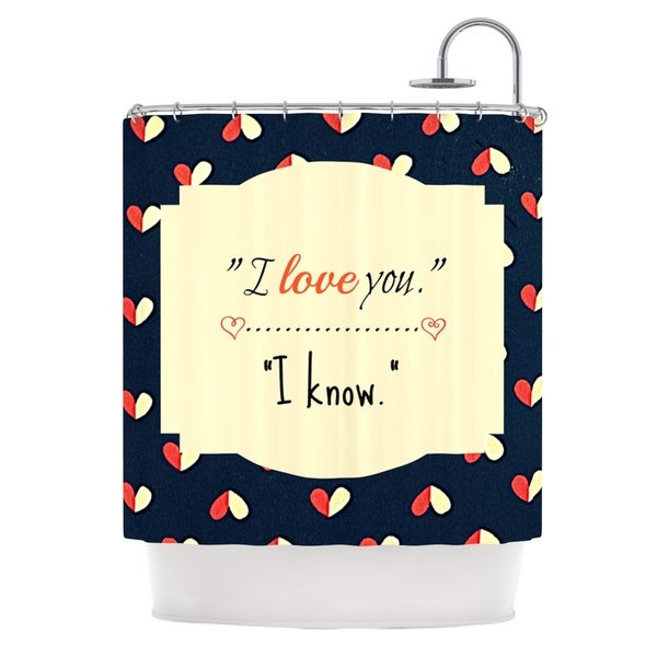 Kess InHouse Robin Dickinson I Know Navy Blue Shower Curtain