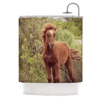 Kess InHouse Robin Dickinson Confuscous Brown Green Shower Curtain