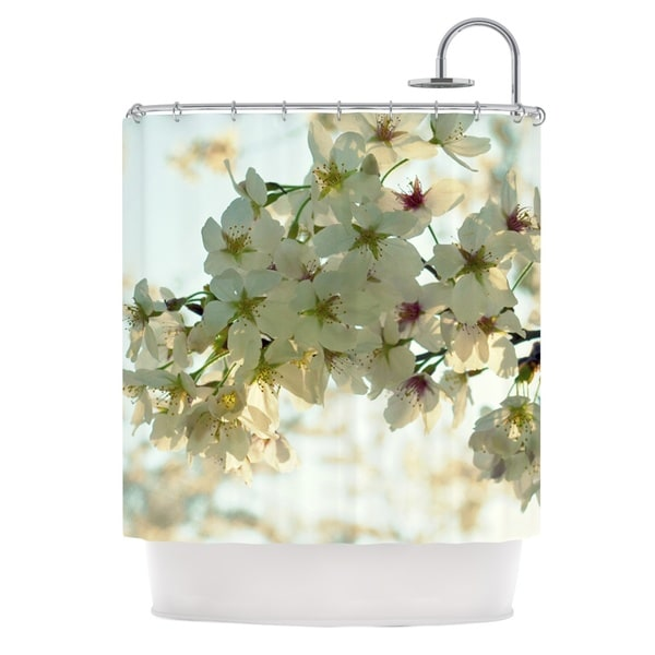 Kess InHouse Robin Dickinson Cherry Blossoms White Flower Shower Curtain