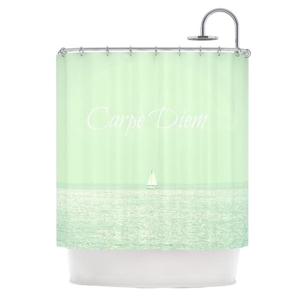 Kess InHouse Robin Dickinson Carpe Diem Teal Ocean Shower Curtain