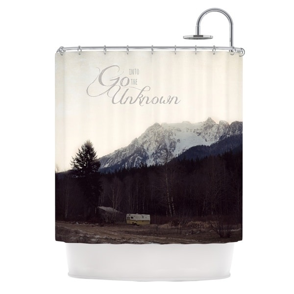 Kess InHouse Robin Dickinson Go Into The Unknown Brownn White Shower Curtain