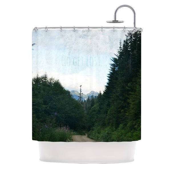 Kess InHouse Robin Dickinson Go Get Lost Forest Green Shower Curtain