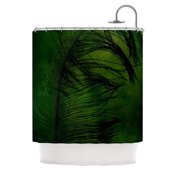 Kess InHouse Robin Dickinson Feather Green Peacock Shower Curtain
