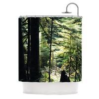 Kess InHouse Robin Dickinson Enchanted Forest Green Shower Curtain