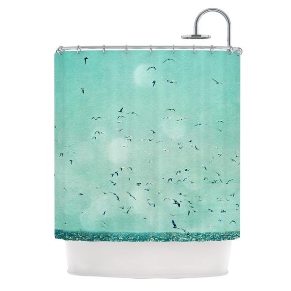 Kess InHouse Robin Dickinson Down By The Sea Blue Green Shower Curtain