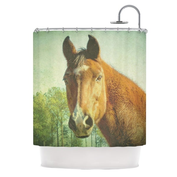 Kess InHouse Robin Dickinson Ct Green Brown Shower Curtain