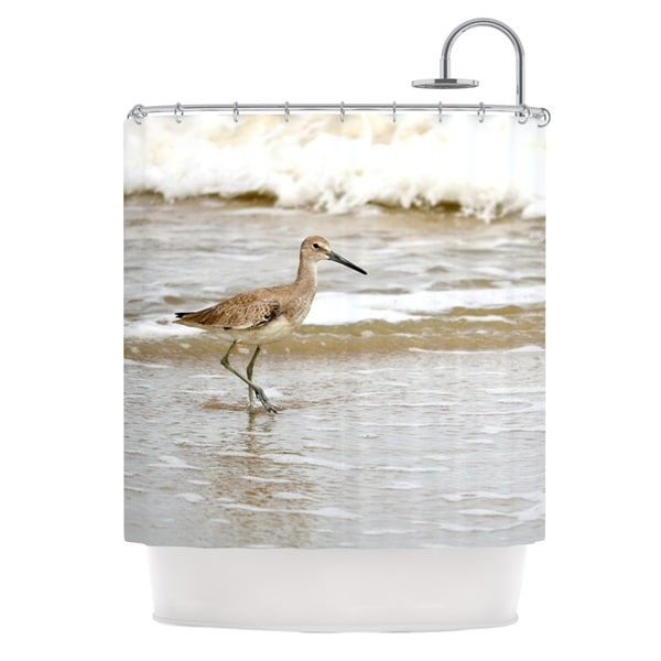 Kess InHouse Robin Dickinson Counting The Waves Brown White Shower Curtain