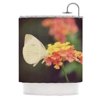 Kess InHouse Robin Dickinson Captivating Orange Flower Shower Curtain