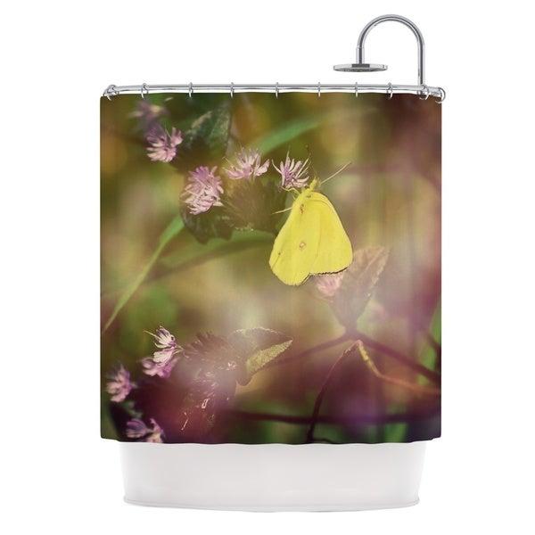 Kess InHouse Robin Dickinson Butterfly Kisses Green Purple Shower Curtain