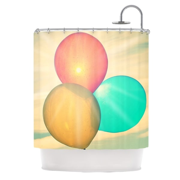 Kess InHouse Robin Dickinson Balloons Tan Clouds Shower Curtain