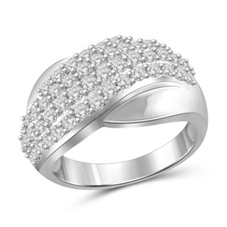 Jewelonfire Sterling Silver 1.00ct TDW White Diamond Wave Ring