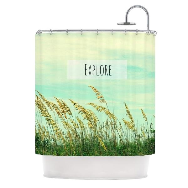 Kess InHouse Robin Dickinson Explore Quote Green Shower Curtain