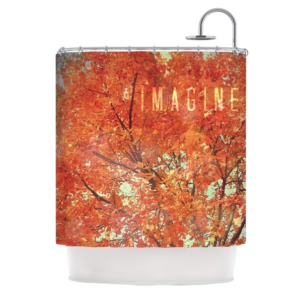 Kess InHouse Robin Dickinson Imagine Orange Leaves Shower Curtain