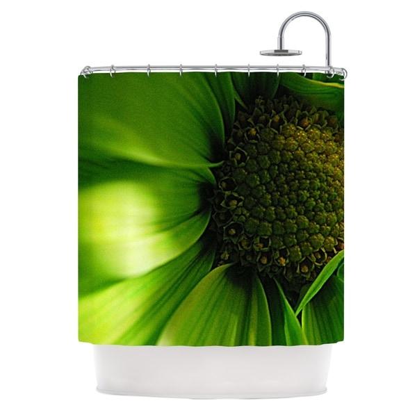 Kess InHouse Robin Dickinson Green Flower Shower Curtain