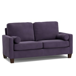 Handy Living Espen Plum Purple Velvet SoFast Small Space Living Sofa