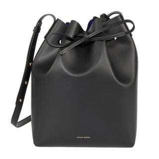 Mansur Gavriel Black w/ Navy Interior and Gold Hardware Bucket Handbag
