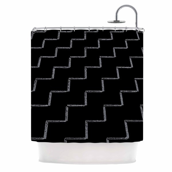 Kess InHouse Richard Casillas Zigzags Night Black White Shower Curtain