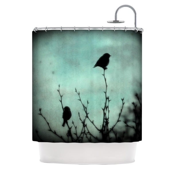 Kess InHouse Robin Dickinson On Top Teal Dark Shower Curtain