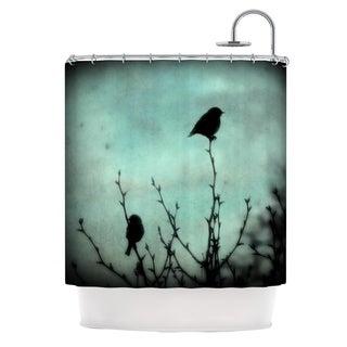 Kess InHouse Robin Dickinson On Top Teal Dark Shower Curtain