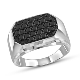 Jewelonfire Sterling Silver Men's 1.00ct TDW Black Diamond 5-Row Fashion Ring - White