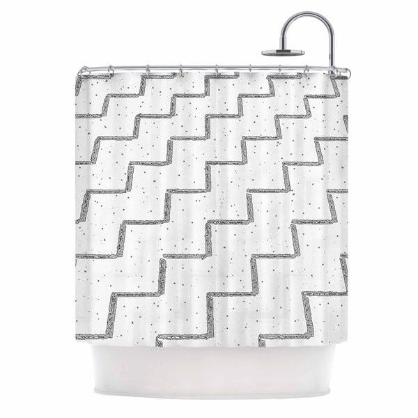 Kess InHouse Richard Casillas Speckled Zigzag White Gray Shower Curtain