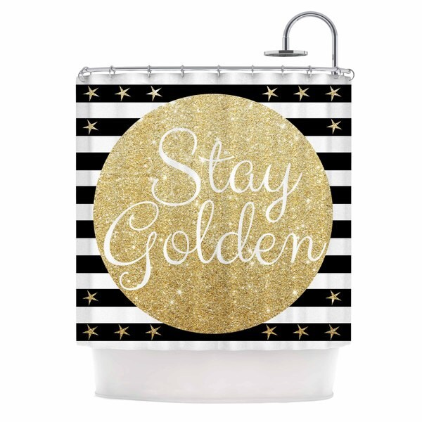 Shop Kess InHouse Richard Casillas Stay Golden Black Gold Shower Curtain