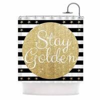 Kess InHouse Richard Casillas Stay Golden  Black Gold Shower Curtain