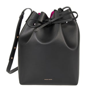 Mansur Gavriel Black w/ Pink Interior and Gold Hardware Bucket Handbag