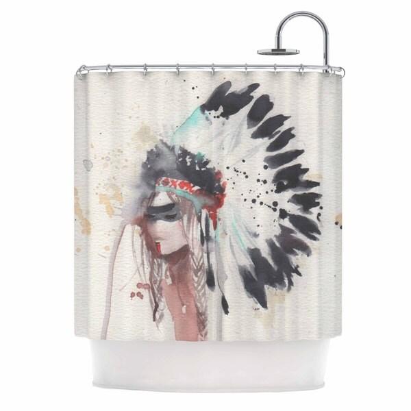 Kess InHouse Rebecca Bender Warrior Bride Beige Multicolor Shower Curtain
