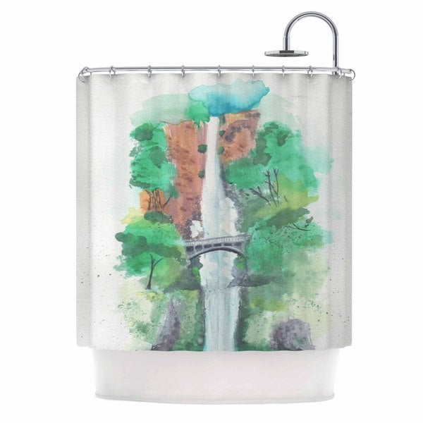 Kess InHouse Rebecca Bender Multnomah Falls Watercolor Green Painting Shower Curtain