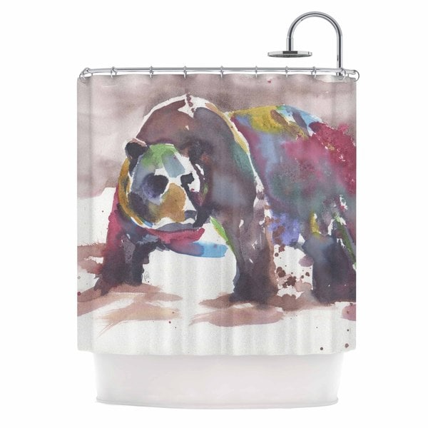 Kess InHouse Rebecca Bender Grizzly Bear Watercolor Abstract Animal Shower Curtain