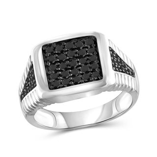 Jewelonfire Sterling Silver Men's 1.00ct TDW Black Diamond Textured Ring - White