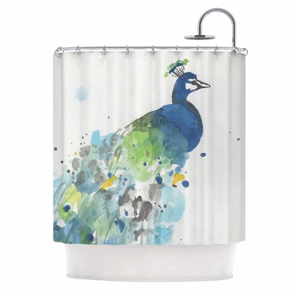 Kess InHouse Rebecca Bender Abstract Watercolor Peacock Blue Teal Shower Curtain