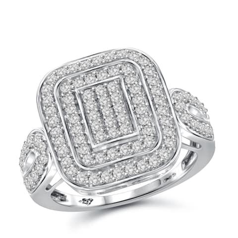 Jewelonfire Sterling Silver 1.00ct TDW White Diamond Cushion Ring